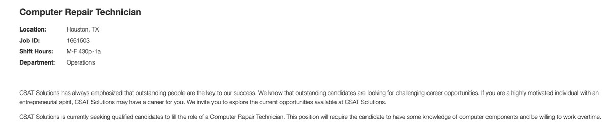 """The job listing includes the line """"This position will require the candidate to have some knowledge of computer components and be willing to work overtime."""""""