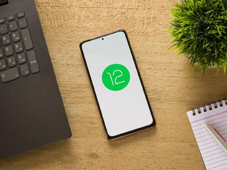 Android 12 phone on a desk